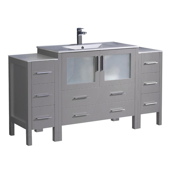 "Fresca Torino 60"" Gray Modern Bathroom Cabinets w/ Integrated Sink"