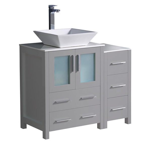 "Fresca Torino 36"" Gray Modern Bathroom Cabinets w/ Top & Vessel Sink"