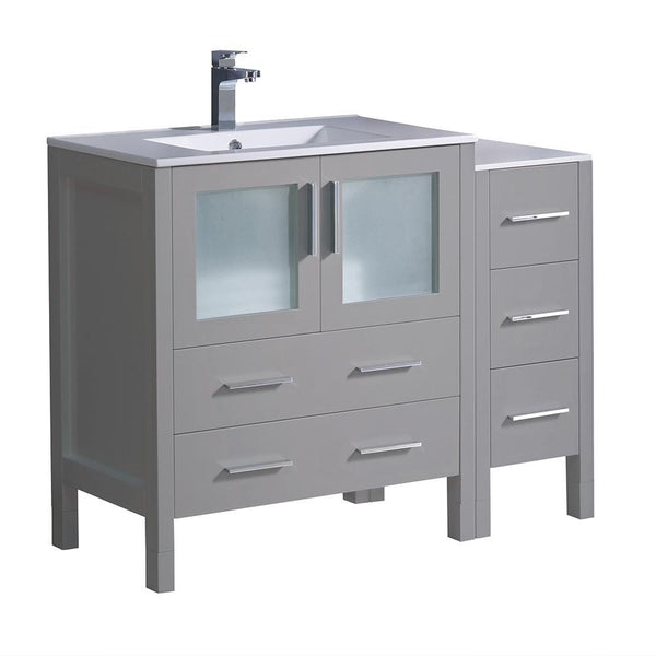 "Fresca Torino 42"" Gray Modern Bathroom Cabinets w/ Integrated Sink"