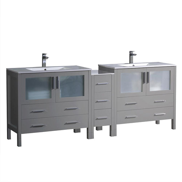 "Fresca Torino 84"" Gray Modern Double Sink Bathroom Cabinets w/ Integrated Sinks"