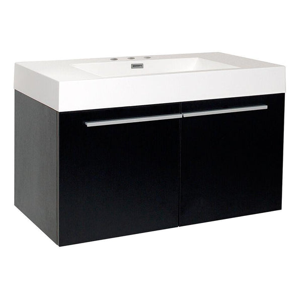 "Fresca Vista 36"" Black Modern Bathroom Cabinet w/ Integrated Sink"