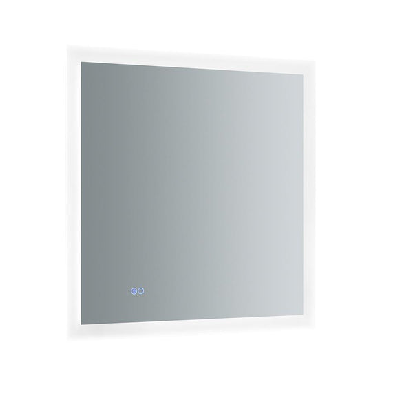 "Fresca Angelo 30"" Wide x 30"" Tall Bathroom Mirror w/ Halo Style LED Lighting and Defogger"