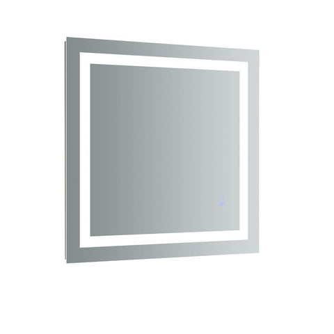 "Fresca Santo 30"" Wide x 30"" Tall Bathroom Mirror w/ LED Lighting and Defogger"