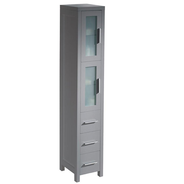 "Fresca Torino 12"" Gray Tall Bathroom Linen Side Cabinet"