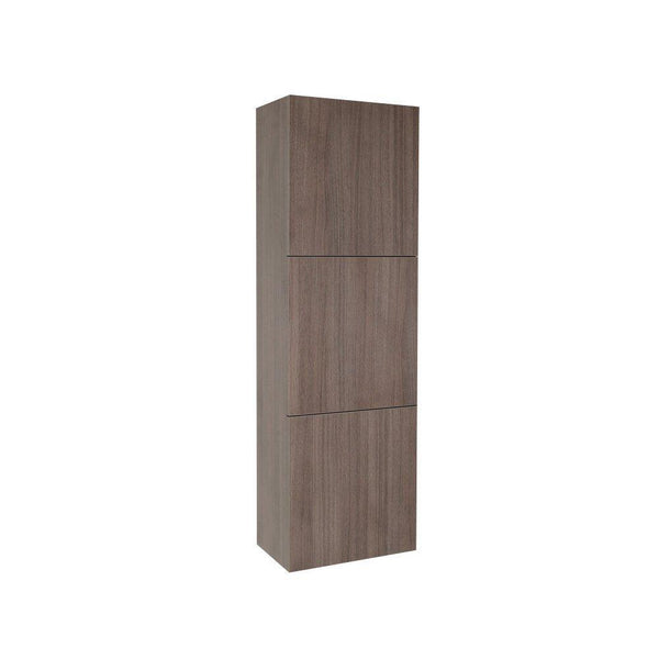 Fresca Gray Oak Bathroom Linen Side Cabinet w/ 3 Large Storage Areas
