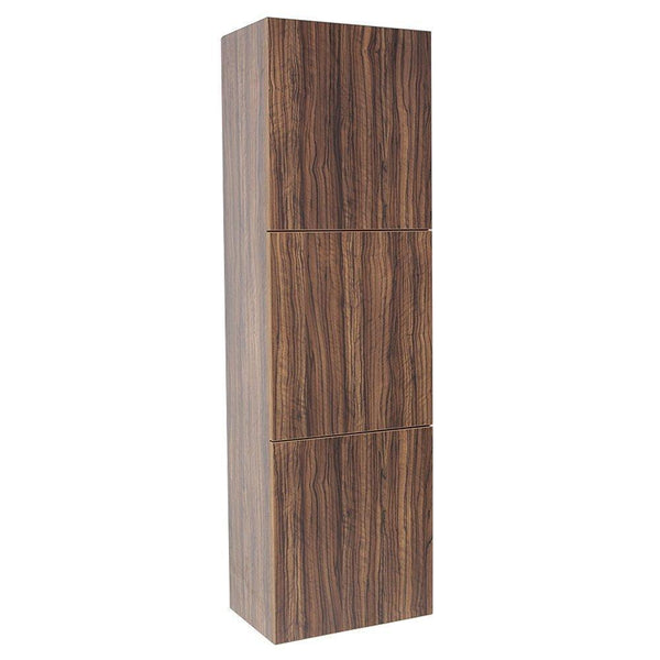 Fresca Walnut Bathroom Linen Side Cabinet w/ 3 Large Storage Areas