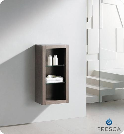 Fresca Allier Gray Oak Bathroom Linen Side Cabinet w/ 2 Glass Shelves