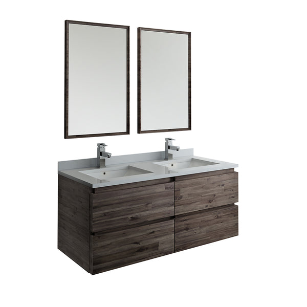 "Fresca Formosa 48"" Wall Hung Double Sink Modern Bathroom Vanity w/ Mirrors 