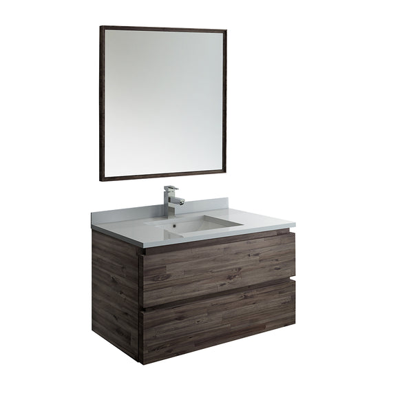 "Fresca Formosa 36"" Wall Hung Modern Bathroom Vanity w/ Mirror 