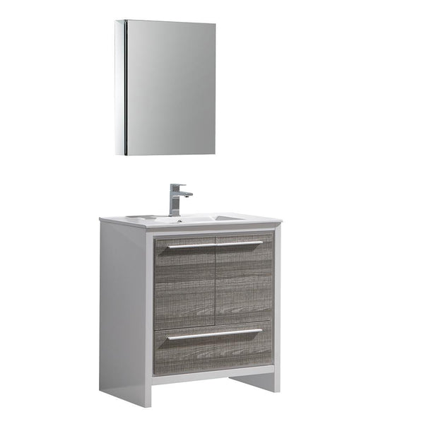 "Fresca Allier Rio 30"" Ash Gray Bathroom Vanity"