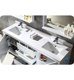 "Fresca Allier 72"" White Modern Double Sink Bathroom Vanity w/ Mirror"