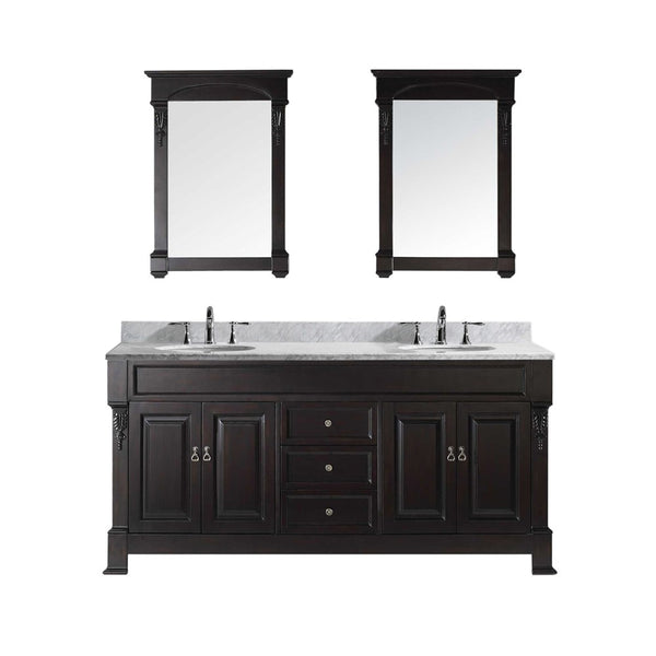 "Virtu USA Huntshire 72"" Double Bathroom Vanity w/ Sink, Chrome Faucet, Mirror"