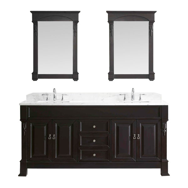 "Virtu USA Huntshire 72"" Double Bathroom Vanity w/ Square Sink, Mirror"