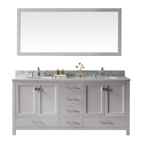 "Virtu USA Caroline Avenue 72"" Double Bathroom Vanity w/ Sink, Faucet, Mirror"
