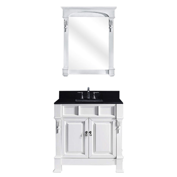 "Virtu USA Huntshire 36"" Single Bathroom Vanity w/ Granite Top, Sink, Mirror"
