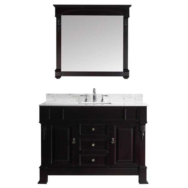 "Virtu USA Huntshire 48"" Single Bathroom Vanity w/ Square Sink, Mirror"
