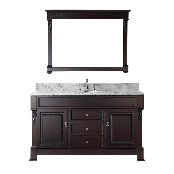 "Virtu USA Huntshire 60"" Single Bathroom Vanity w/ Sink, Chrome Faucet, Mirror"