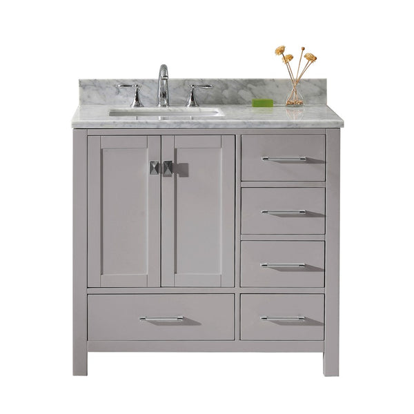 "Virtu USA Caroline Avenue 36"" Single Bathroom Vanity w/ Marble Top, Square Sink"