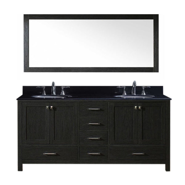 "Virtu USA Caroline Premium 72"" Double Bathroom Vanity w/ Sink, Mirror"