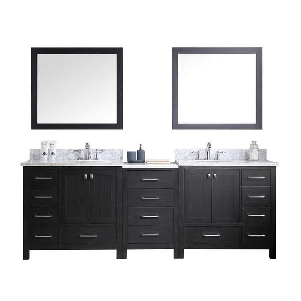 "Virtu USA Caroline Premium 92"" Double Bathroom Vanity w/ Round Sink, Mirror"
