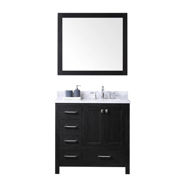 "Virtu USA Caroline Premium 36"" Single Bathroom Vanity w/ Square Sink, Mirror"