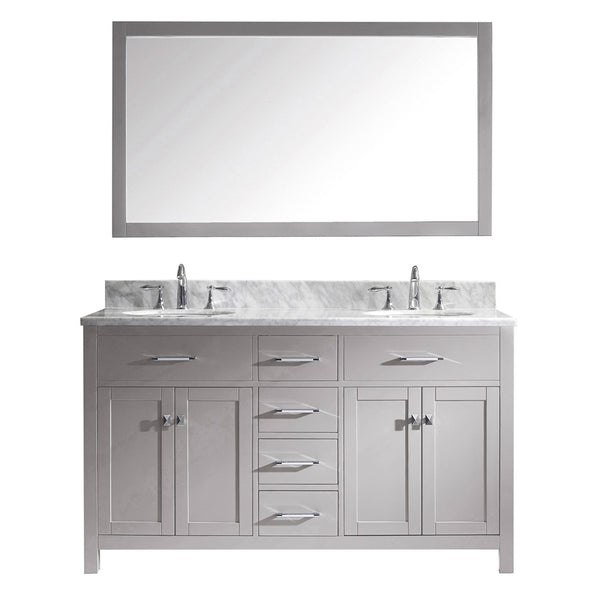 "Virtu USA Caroline 60"" Double Bathroom Vanity w/ Round Sink, Faucet, Mirror"