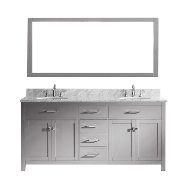 "Virtu USA Caroline 72"" Double Bathroom Vanity w/ Marble Top, Round Sink, Mirror"