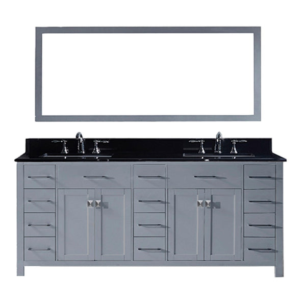 "Virtu USA Caroline Parkway 78"" Double Bathroom Vanity w/ Sink, Mirror"