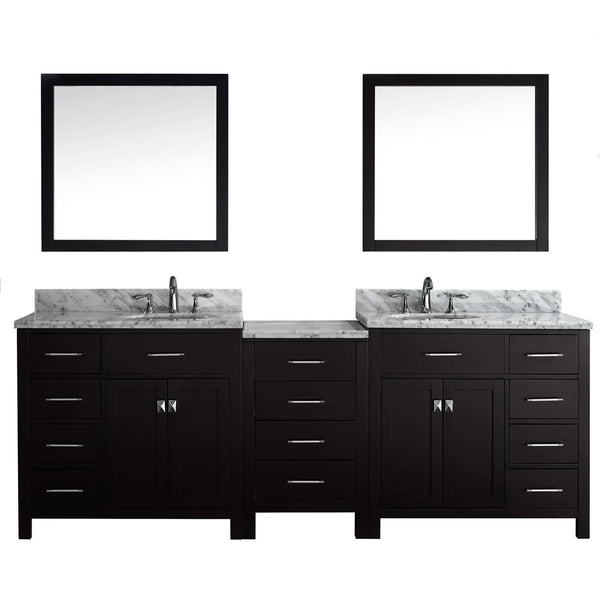 "Virtu USA Caroline Parkway 93"" Double Bathroom Vanity w/ Round Sink, Mirror"