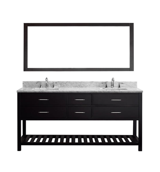 "Virtu USA Caroline Estate 72"" Double Bathroom Vanity w/ Sink, Faucet, Mirror"