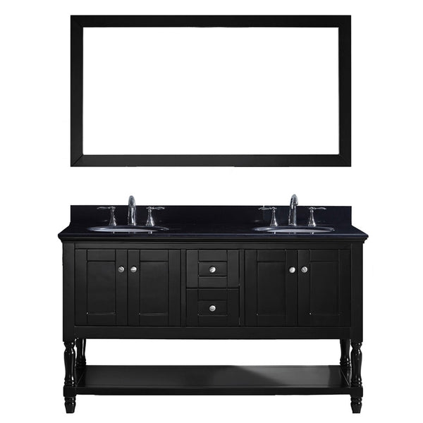 "Virtu USA Julianna 60"" Double Bathroom Vanity w/ Sink, Faucet, Mirror"