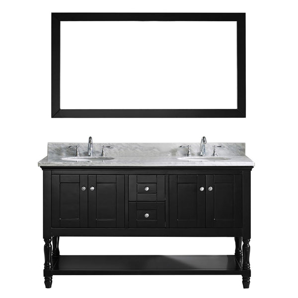 "Virtu USA Julianna 60"" Double Bathroom Vanity w/ Marble Top, Round Sink, Mirror"
