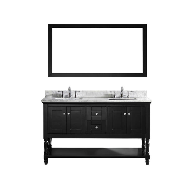 "Virtu USA Julianna 60"" Double Bathroom Vanity w/ Square Sink, Faucet, Mirror"