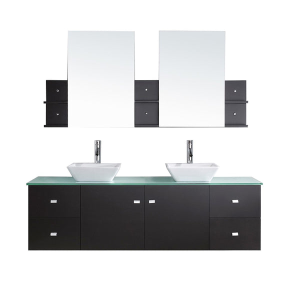 "Virtu USA Clarissa 72"" Double Bathroom Vanity w/ Glass Top, Sink, Faucet, Mirror"