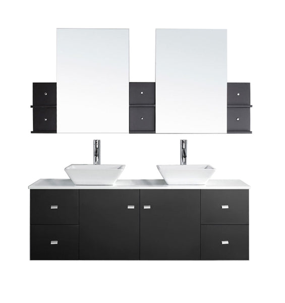 "Virtu USA Clarissa 61"" Double Bathroom Vanity w/ Stone Top, Sink, Faucet, Mirror"