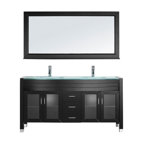 "Virtu USA Ava 63"" Double Bathroom Vanity w/ Glass Top, Sink, Faucet, Mirror"