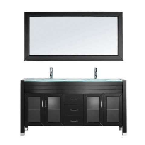 "Virtu USA Ava 63"" Double Bathroom Vanity w/ Aqua Glass Top, Sink, Faucet, Mirror"