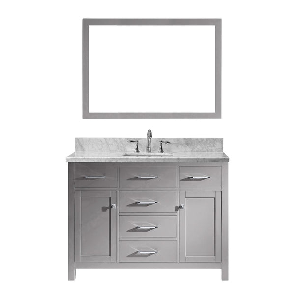 "Virtu USA Caroline 48"" Single Bathroom Vanity w/ Square Sink, Faucet, Mirror"