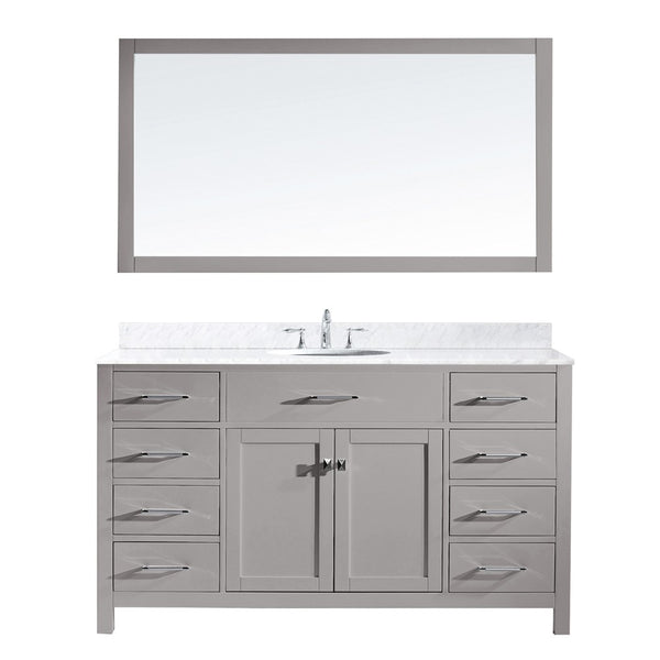 "Virtu USA Caroline 60"" Single Bathroom Vanity w/ Marble Top, Round Sink, Mirror"