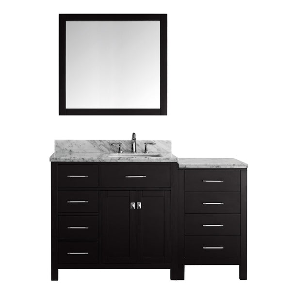 "Virtu USA Caroline Parkway 57"" Single Bathroom Vanity w/ Square Sink, Mirror"