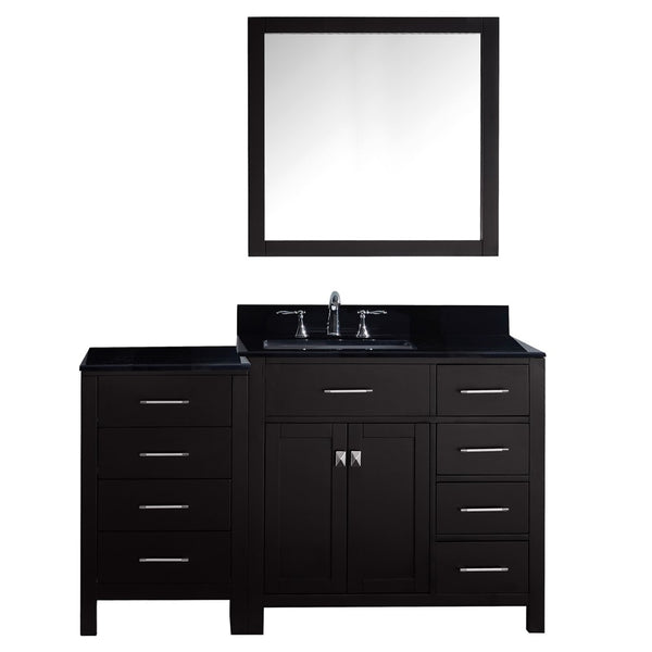 "Virtu USA Caroline Parkway 57"" Single Bathroom Vanity w/ Sink, Faucet, Mirror"