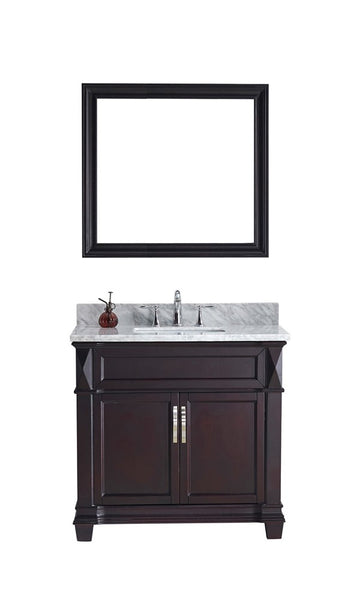 "Virtu USA Victoria 36"" Single Bathroom Vanity w/ Square Sink, Faucet, Mirror"