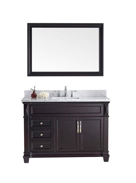 "Virtu USA Victoria 48"" Single Bathroom Vanity w/ Marble Top, Square Sink, Mirror"