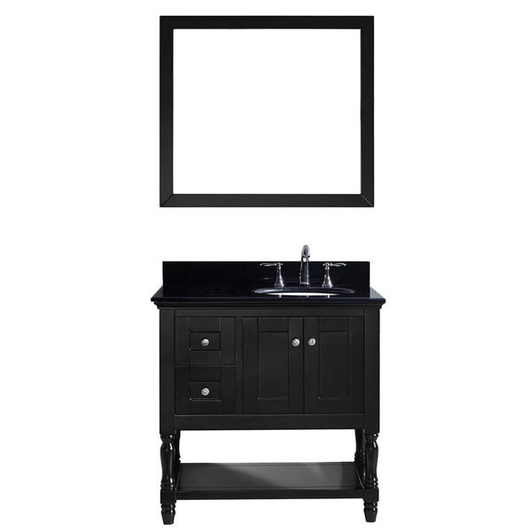 "Virtu USA Julianna 36"" Single Bathroom Vanity w/ Black Granite Top, Sink, Mirror"