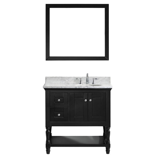 "Virtu USA Julianna 36"" Single Bathroom Vanity w/ Round Sink, Faucet, Mirror"