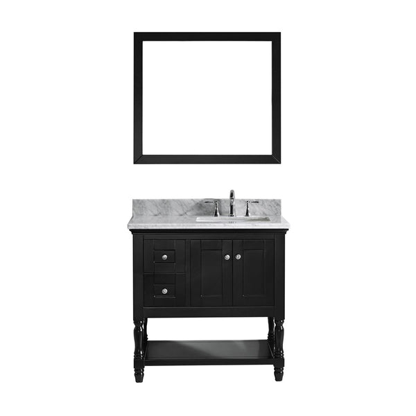 "Virtu USA Julianna 36"" Single Bathroom Vanity w/ Square Sink, Faucet, Mirror"