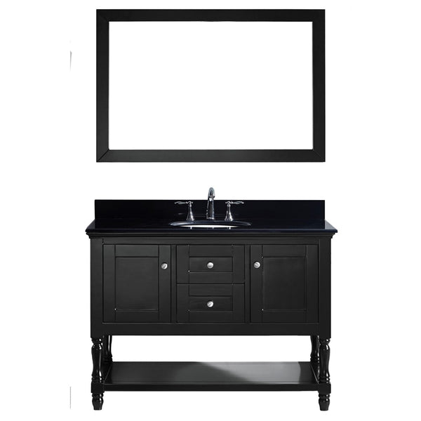 "Virtu USA Julianna 48"" Single Bathroom Vanity w/ Black Granite Top, Sink, Mirror"
