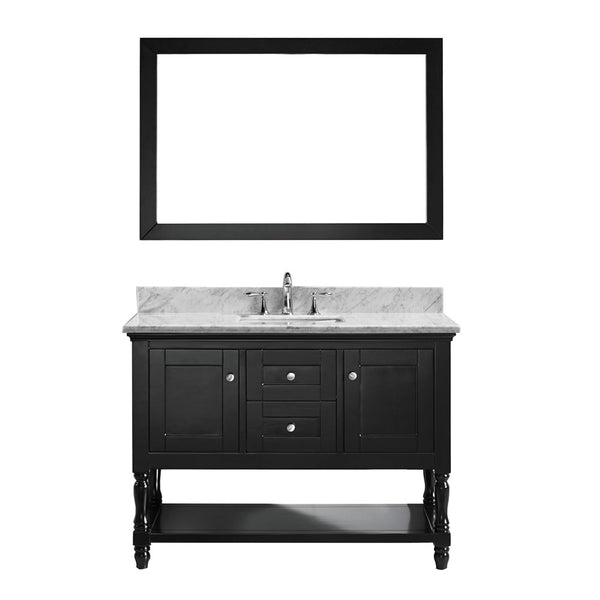 "Virtu USA Julianna 48"" Single Bathroom Vanity w/ Square Sink, Faucet, Mirror"