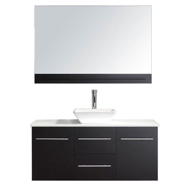 "Virtu USA Marsala 48"" Single Bathroom Vanity w/ Stone Top, Sink, Faucet, Mirror"