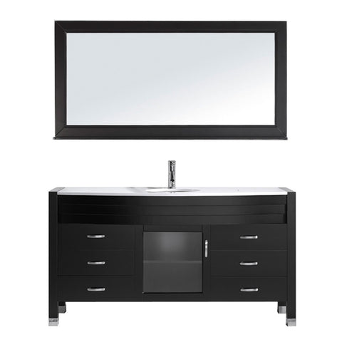 "Virtu USA Ava 61"" Single Bathroom Vanity w/ Stone Top, Sink, Faucet, Mirror"